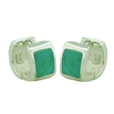 Sterling Silver Earring Rectangular Faux Turquoise Huggies 6X8--E-Coated