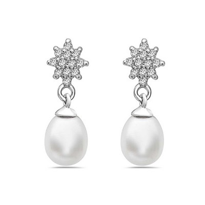 Sterling Silver Earring with Clear Cubic Zirconia Flower at Post and Dangle