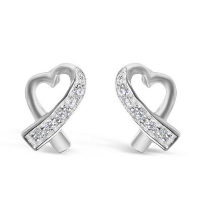 Sterling Silver Earring with Open Heart with Clear Cubic Zirconia