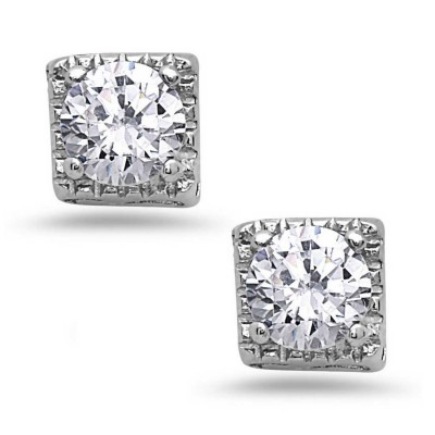 Sterling Silver Earring Square Stud with Clear Cubic Zirconia