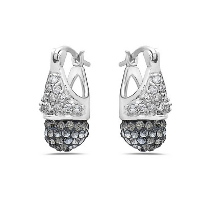 Sterling Silver Earring with Clear Cubic Zirconia and Black Crystal Ball An