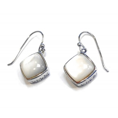Sterling Silver Earring Rhombus Mother of Pearl with Fish Hook