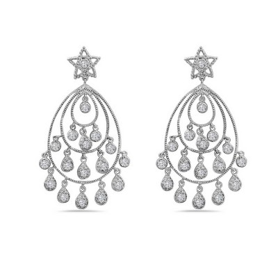 Sterling Silver Earring 50mm Chandelier with 3 Layers