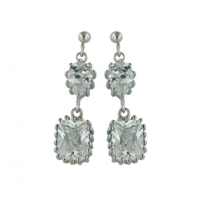 Sterling Silver Earring Dangling Tear Drop+Cushion Clear Cubic Zirconia