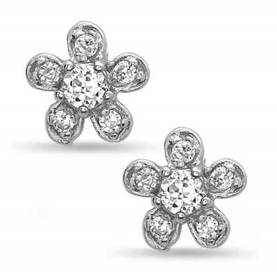 Sterling Silver Earring Flower Stud with Clear Cubic Zirconia