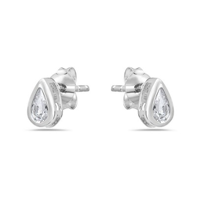 Sterling Silver Earring T Drop Stud with Clear Cubic Zirconia