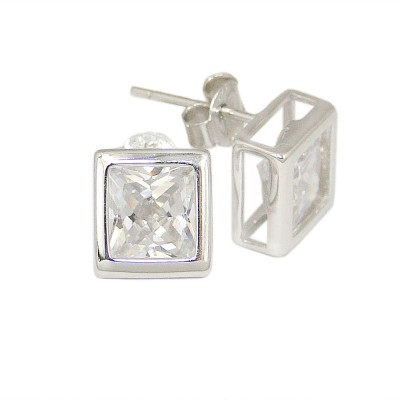 Sterling Silver Earring 7mm Square Cubic Zirconia Stud