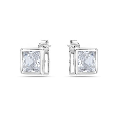 Sterling Silver Earring 9mm Square Cubic Zirconia Stud