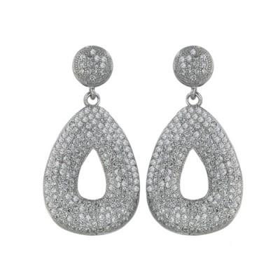 Sterling Silver Earring Post Dangling 16-22mm Open Triangular Wcle