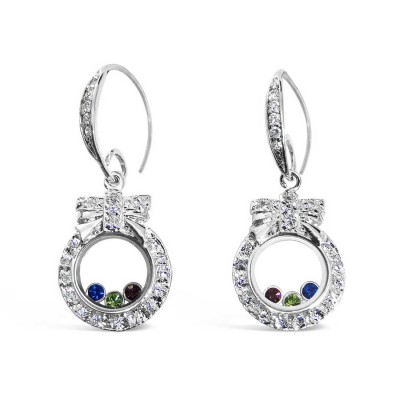 Sterling Silver Earring 15-15mm Round Frame with 3 Color Cubic Zirconia inside Fi