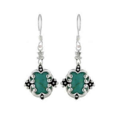 Sterling Silver Earring Dangle Oval Reconstructed Turquoise