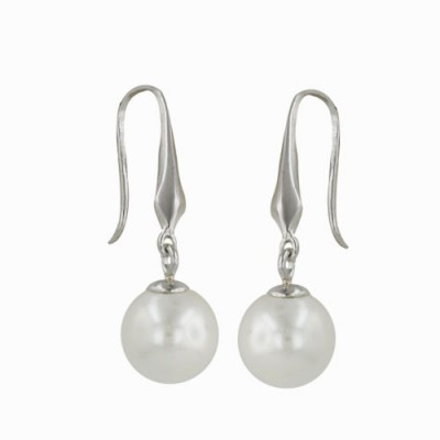 Sterling Silver Earring 9mm Round Pearl White with Designed Fish Hook
