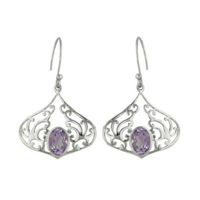 Sterling Silver Earring 20-22 Open Filigree with Oval Amy Gem Stone B