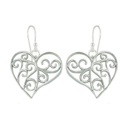 Sterling Silver Earring 19X17mm Plain Filigree Open Heart Rhodium Plating/Nickle Free
