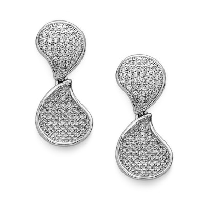 Sterling Silver Earring Curved Teardrop Shape Paved in Clear Cubic Zirconia