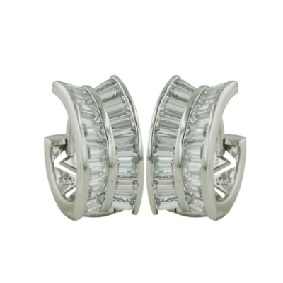 Sterling Silver Earring Baguette Cubic Zirconia Clear V Angle