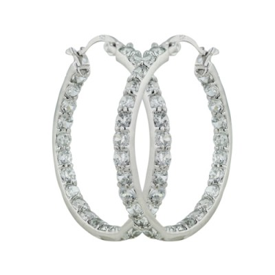 Sterling Silver Earring Cubic Zirconia Around 30 mm Latch Hoop