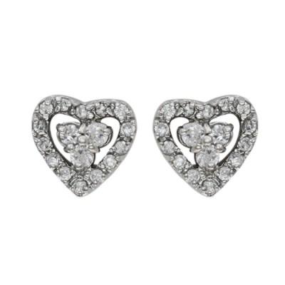 Sterling Silver Earring Heart Outline Stud 10 mm