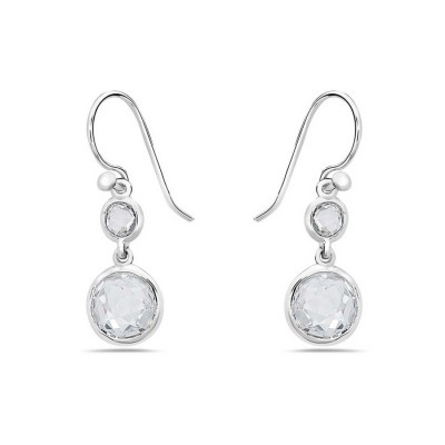"""Sterling Silver Earring """"8"""" Shape with Clear Cubic Zirconia in Center of Circles"""