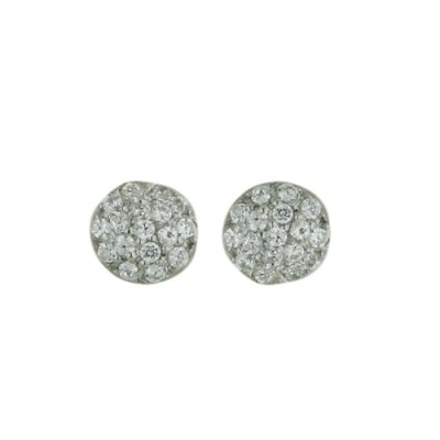 Sterling Silver Earring 5mm Dome Stud Paved in Clear Cubic Zirconia