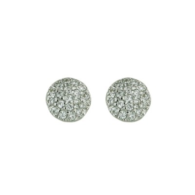 Sterling Silver Earring 6.4mm Stud Dome Paved in Clear Cubic Zirconia