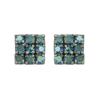 Sterling Silver Earring Checker Box 9 AB color Cyrstal Aqua Cy
