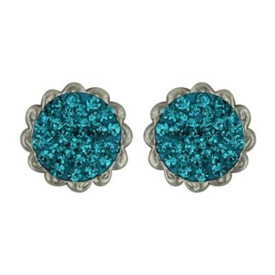 Sterling Silver Earring Flower Blue Zirc Cy Ferido Center Sm. P