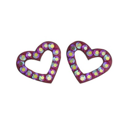 Sterling Silver Earring Open Heart with AB color Cyrstal Rose Cy Ferido