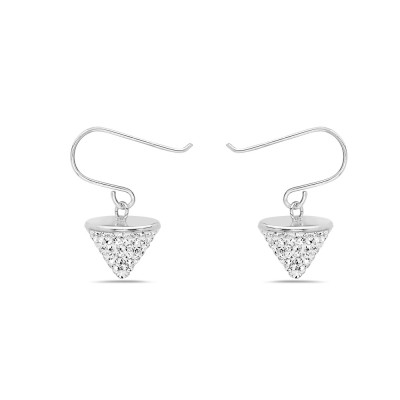 Sterling Silver Earring Clear Crystal Cone on Fish Hook