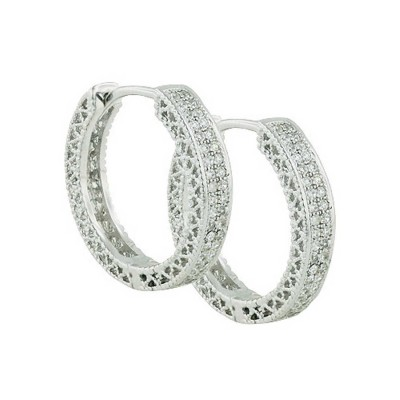 Sterling Silver Earring Micropaved 20.5mm Huggie