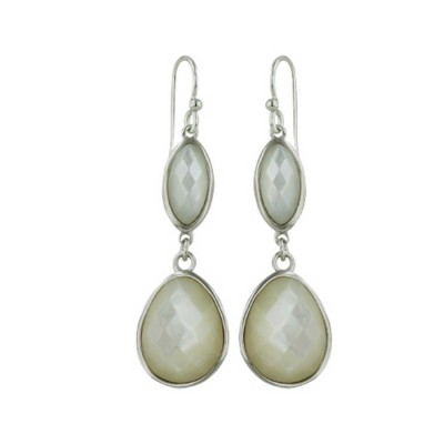 Sterling Silver Earring Hammered Marquis+Td Mother of Pearl Dangle