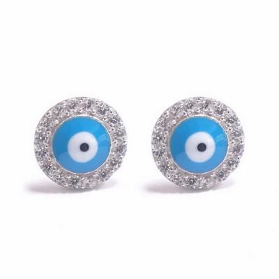 Sterling Silver Earring L. Blue Enamel Evil Eye with Clear Cubic Zirconia Ard Stud