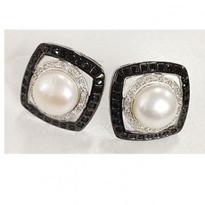 Sterling Silver Earring 12mm Fresh Water Pearl in Open Clear Cubic Zirconia Circle+Black Cubic Zirconia Square