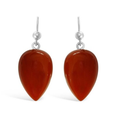 Sterling Silver Earring Carnelian Inverted Pear -Rhodium Plating-