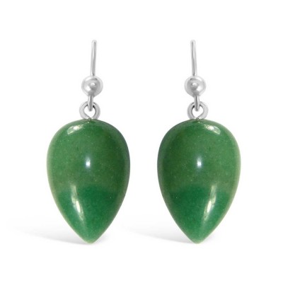 Sterling Silver Earring Dyed Jade Inverted Pear -Rhodium Plating-