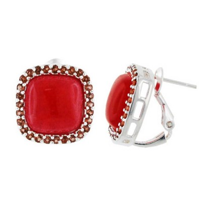 Sterling Silver Earring Red Jade Cushion with Garnet