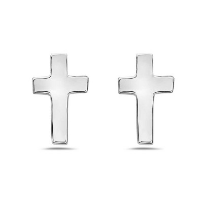 Sterling Silver Earring Cross Stud -Rhodium Plating-