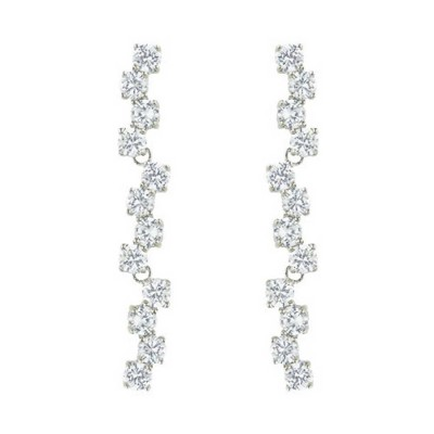 Sterling Silver Earring 12 Connecting 4mm Clear Cubic Zirconia