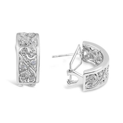 Sterling Silver Earring Curved Rectangle Clear Cubic Zirconia with Open Wave