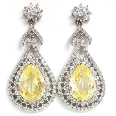 Sterling Silver Earring Canary Cubic Zirconia Tear Drop Clear Cubic Zirconia Around