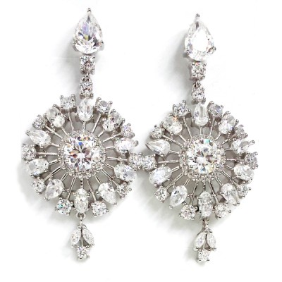 Sterling Silver Earring Dangle Snowflake with Clear Cubic Zirconia