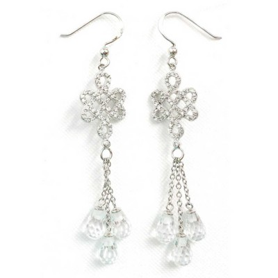 Sterling Silver Earring Clear Cubic Zirconia Endless Knot Fish Hook with 3