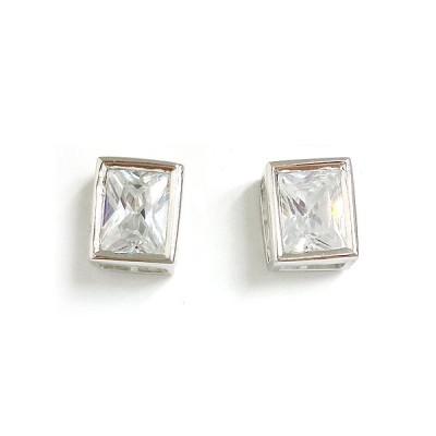 Sterling Silver Earring 10X8mm Clear Rectangular Cubic Zirconia in Plain Bezel