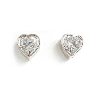 Sterling Silver Earring 10X9mm Clear Heart Cubic Zirconia in Plain Bezel