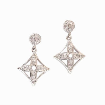 Sterling Silver Earring Pave Top Flower Motif Square