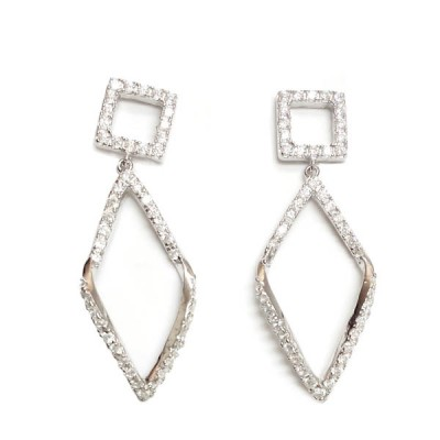 Sterling Silver Earring Clear Cubic Zirconia Square Top with Dangling Rhombus Clear Cubic Zirconia