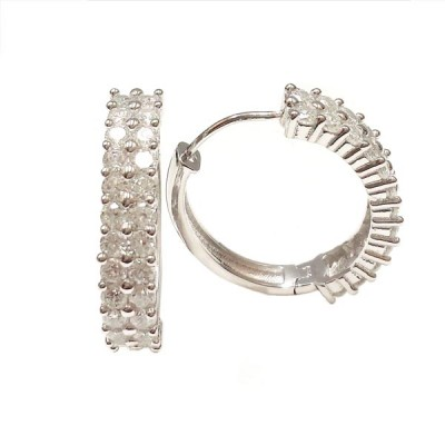 Sterling Silver Earring 18mm Huggies with Two Row Clear Cubic Zirconia