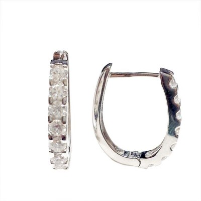 Sterling Silver Earring 12mm Huggies with A Row of 7 Clear Cubic Zirconia