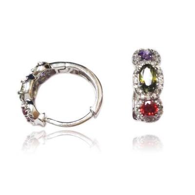 Sterling Silver Earring Garnet +Olivine+Amethyst Oval Cubic Zirconia with Sm Clear Cubic Zirconia Ard Huggies