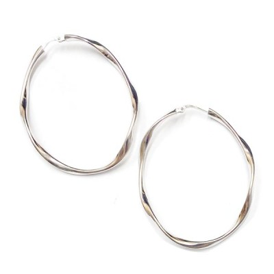 SS Earg 45Mm Slightly Twisted Plain Hoop, Silver